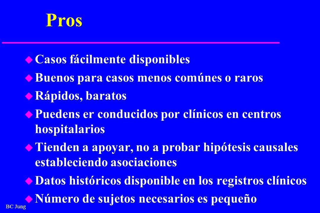 BC Jung Pros u Casos fácilmente disponibles u Buenos para casos menos comúnes o raros u Rápidos, baratos u Puedens er conducidos por clínicos en centr