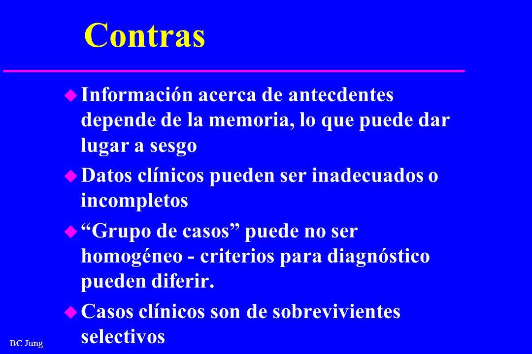 BC Jung Contras u Información acerca de antecdentes depende de la memoria, lo que puede dar lugar a sesgo u Datos clínicos pueden ser inadecuados o in