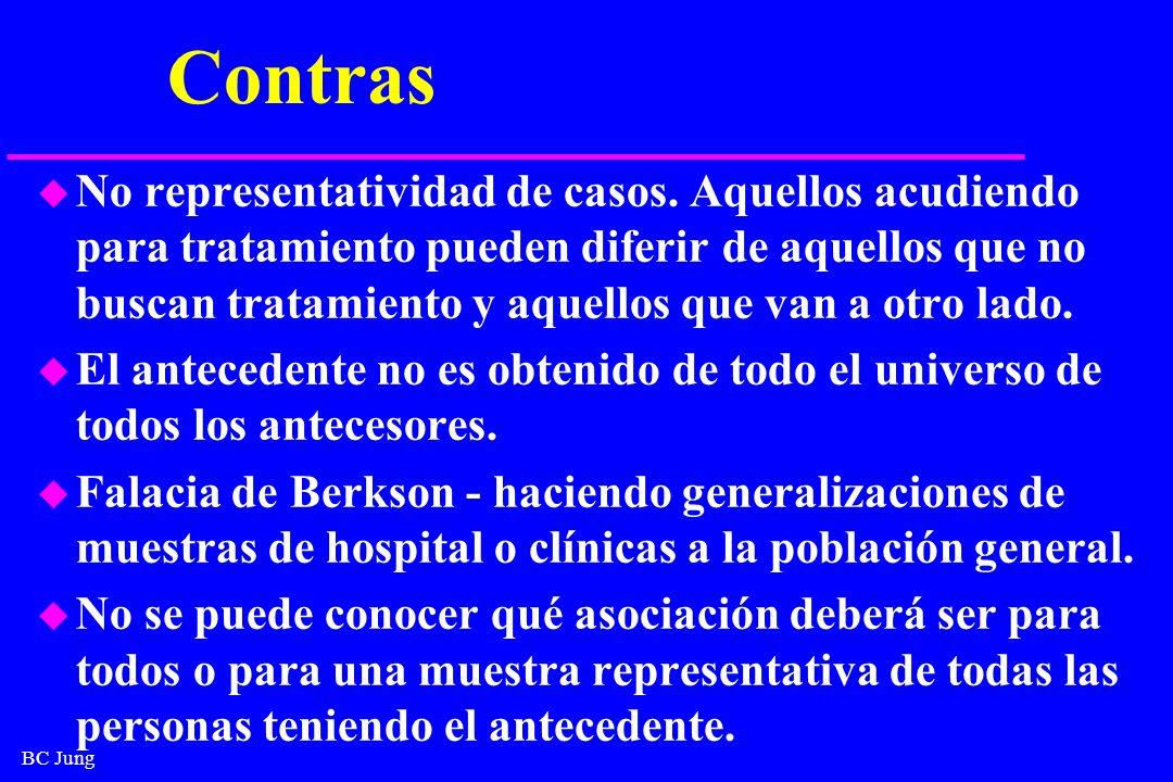 BC Jung Contras u No representatividad de casos. Aquellos acudiendo para tratamiento pueden diferir de aquellos que no buscan tratamiento y aquellos q