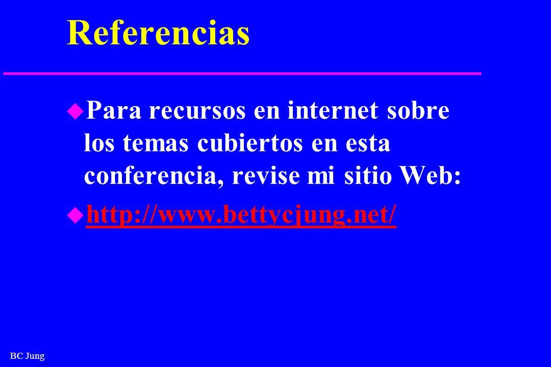 BC Jung Referencias u Para recursos en internet sobre los temas cubiertos en esta conferencia, revise mi sitio Web: u http://www.bettycjung.net/ http: