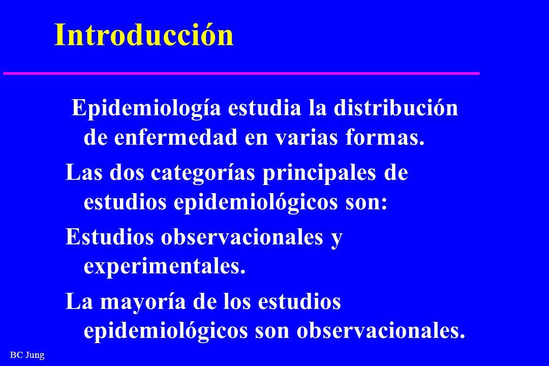 BC Jung Introducción Epidemiología estudia la distribución de enfermedad en varias formas. Las dos categorías principales de estudios epidemiológicos