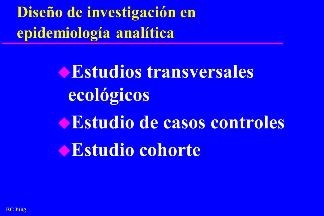 BC Jung Estudios de casos y controles u Estudios retrospectivos (Paffenbarger, 1988) u Retrospectivos - compara casos y controles para la presencia de la enfermedad u Incluye pasaje de tiempo.
