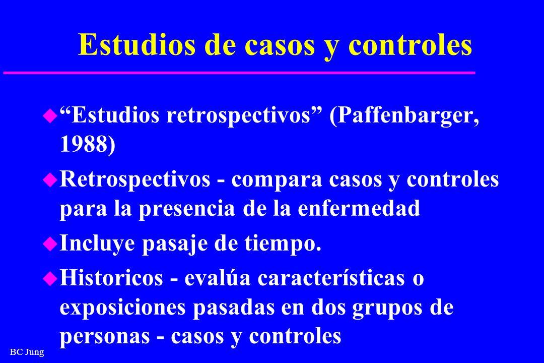 BC Jung Contras u Información acerca de antecdentes depende de la memoria, lo que puede dar lugar a sesgo u Datos clínicos pueden ser inadecuados o incompletos u Grupo de casos puede no ser homogéneo - criterios para diagnóstico pueden diferir.