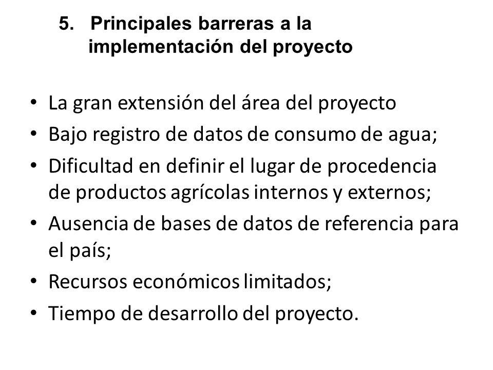 5. Principales barreras a la implementación del proyecto La gran extensión del área del proyecto Bajo registro de datos de consumo de agua; Dificultad