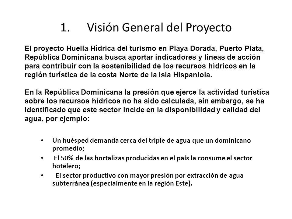 1.Visión General del Proyecto Un huésped demanda cerca del triple de agua que un dominicano promedio; El 50% de las hortalizas producidas en el país la consume el sector hotelero; El sector productivo con mayor presión por extracción de agua subterránea (especialmente en la región Este).