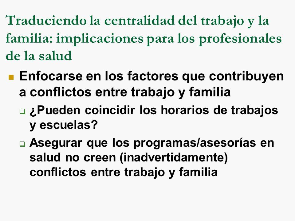 Traduciendo la centralidad del trabajo y la familia: implicaciones para los profesionales de la salud Enfocarse en los factores que contribuyen a conflictos entre trabajo y familia ¿Pueden coincidir los horarios de trabajos y escuelas.