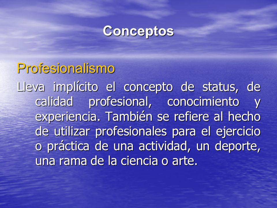 Conceptos Profesionalismo Lleva implícito el concepto de status, de calidad profesional, conocimiento y experiencia. También se refiere al hecho de ut