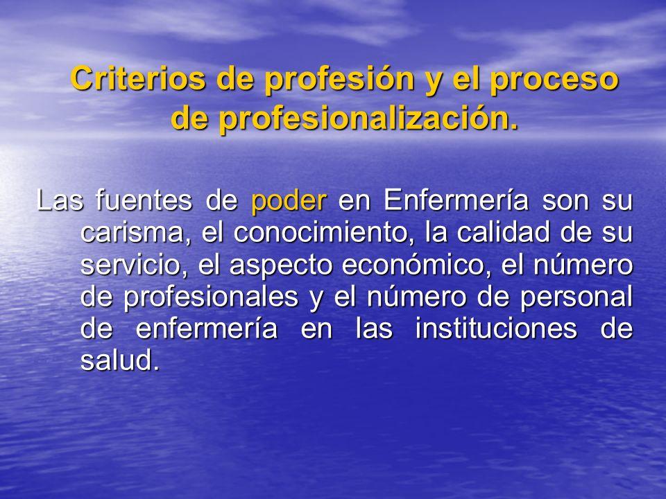 Criterios de profesión y el proceso de profesionalización. Las fuentes de poder en Enfermería son su carisma, el conocimiento, la calidad de su servic