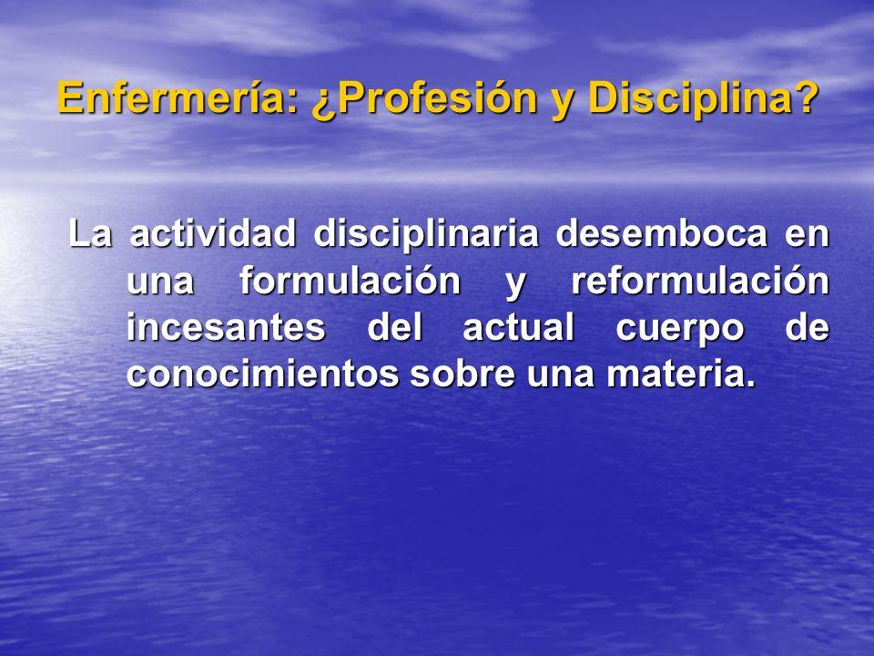 Enfermería: ¿Profesión y Disciplina? La actividad disciplinaria desemboca en una formulación y reformulación incesantes del actual cuerpo de conocimie