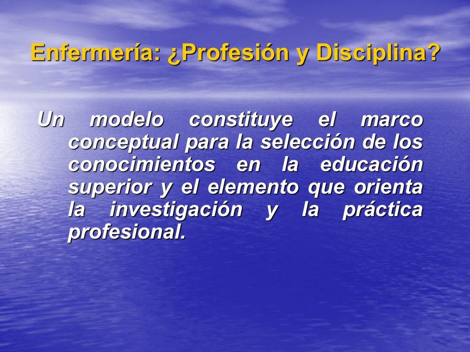 Enfermería: ¿Profesión y Disciplina? Un modelo constituye el marco conceptual para la selección de los conocimientos en la educación superior y el ele
