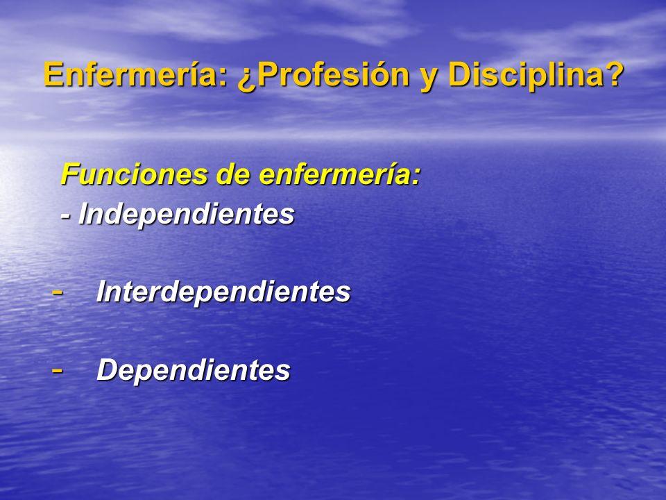Enfermería: ¿Profesión y Disciplina? Funciones de enfermería: Funciones de enfermería: - Independientes - Independientes - Interdependientes - Dependi