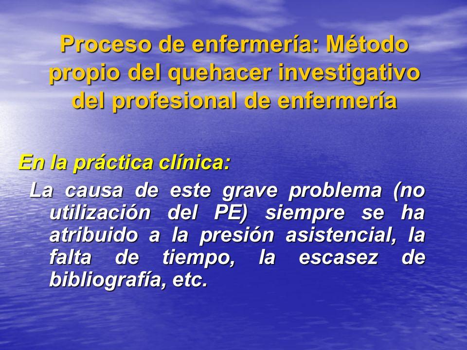 Proceso de enfermería: Método propio del quehacer investigativo del profesional de enfermería En la práctica clínica: La causa de este grave problema