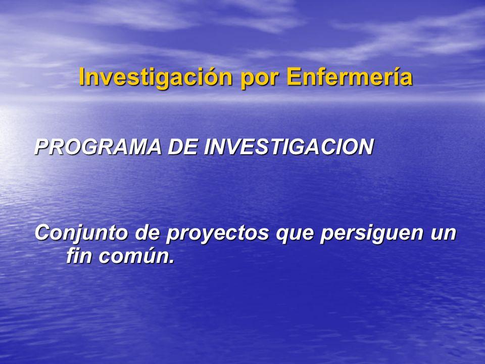 Investigación por Enfermería Investigación por Enfermería PROGRAMA DE INVESTIGACION Conjunto de proyectos que persiguen un fin común.