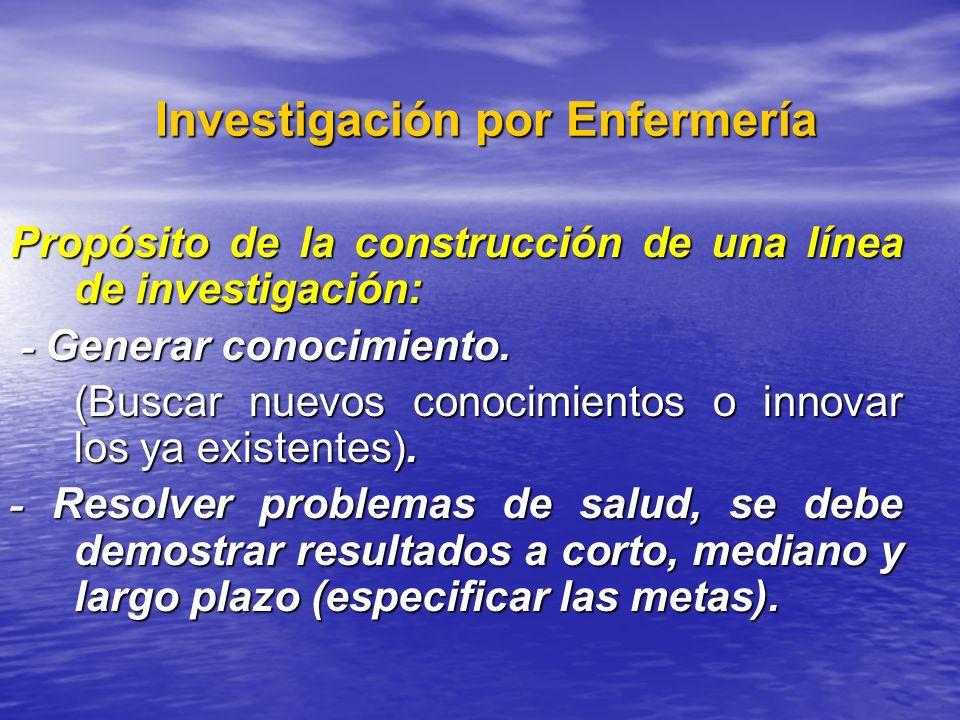 Investigación por Enfermería Investigación por Enfermería Propósito de la construcción de una línea de investigación: - Generar conocimiento. - Genera