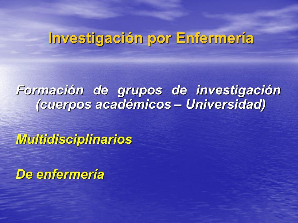 Investigación por Enfermería Investigación por Enfermería Formación de grupos de investigación (cuerpos académicos – Universidad) Multidisciplinarios