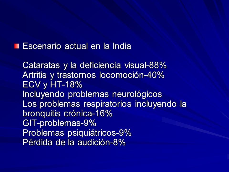 Escenario actual en la India Cataratas y la deficiencia visual-88% Artritis y trastornos locomoción-40% ECV y HT-18% Incluyendo problemas neurológicos
