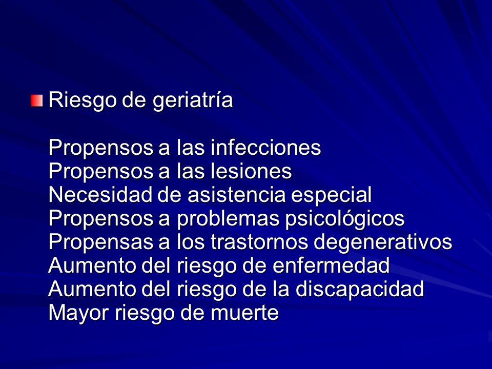 Riesgo de geriatría Propensos a las infecciones Propensos a las lesiones Necesidad de asistencia especial Propensos a problemas psicológicos Propensas