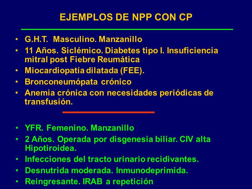 EJEMPLOS DE NPP CON CP G.H.T. Masculino. Manzanillo 11 Años. Siclémico. Diabetes tipo I. Insuficiencia mitral post Fiebre Reumática Miocardiopatía dil
