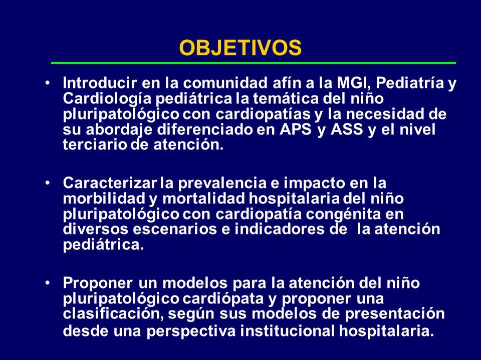 OBJETIVOS Introducir en la comunidad afín a la MGI, Pediatría y Cardiología pediátrica la temática del niño pluripatológico con cardiopatías y la nece