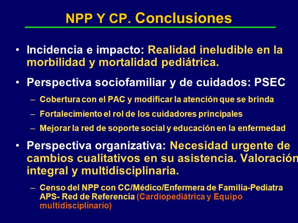 NPP Y CP. Conclusiones Incidencia e impacto: Realidad ineludible en la morbilidad y mortalidad pediátrica. Perspectiva sociofamiliar y de cuidados: PS
