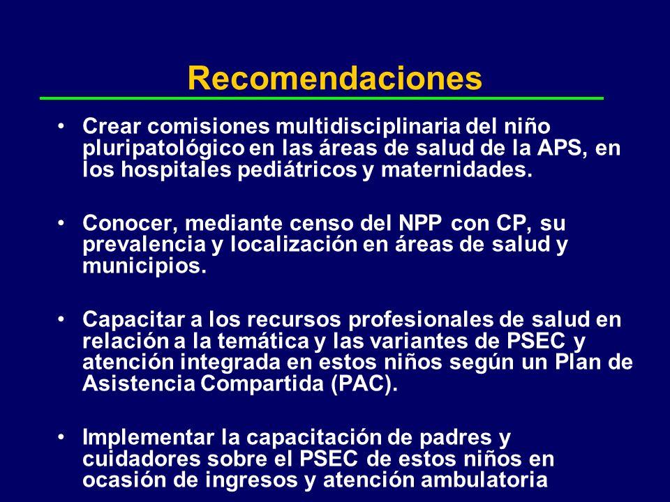 Recomendaciones Crear comisiones multidisciplinaria del niño pluripatológico en las áreas de salud de la APS, en los hospitales pediátricos y maternid
