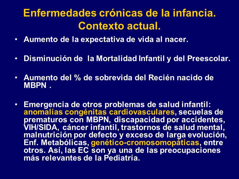 Enfermedades crónicas de la infancia. Contexto actual. Aumento de la expectativa de vida al nacer. Disminución de la Mortalidad Infantil y del Preesco