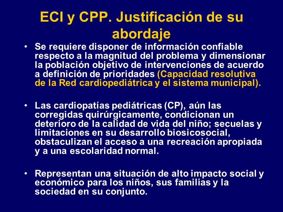 ECI y CPP. Justificación de su abordaje Se requiere disponer de información confiable respecto a la magnitud del problema y dimensionar la población o