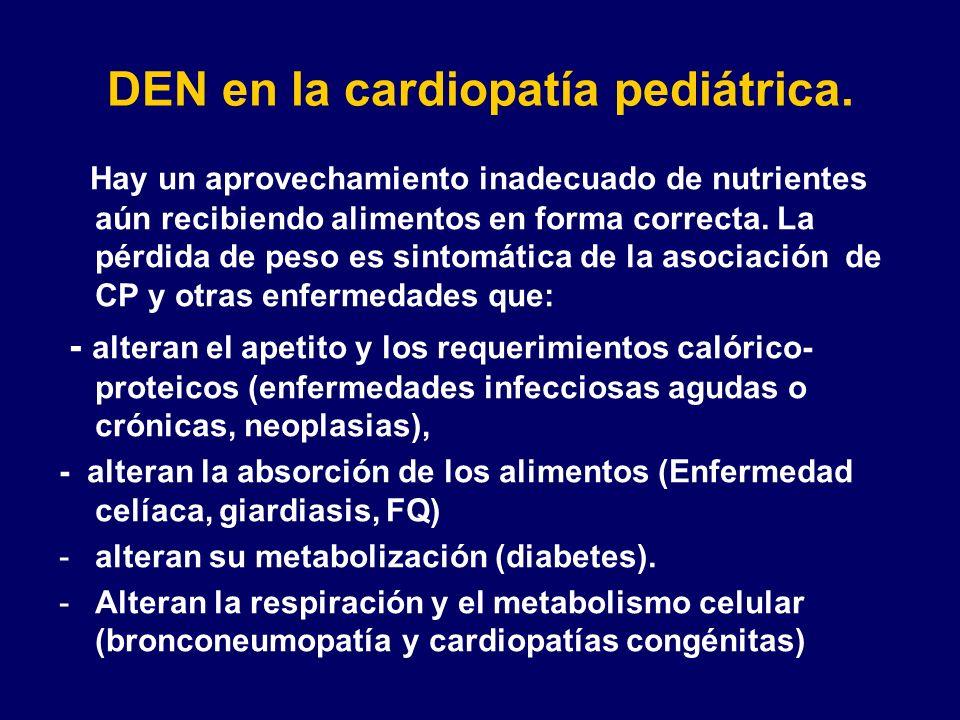 DEN en la cardiopatía pediátrica. Hay un aprovechamiento inadecuado de nutrientes aún recibiendo alimentos en forma correcta. La pérdida de peso es si
