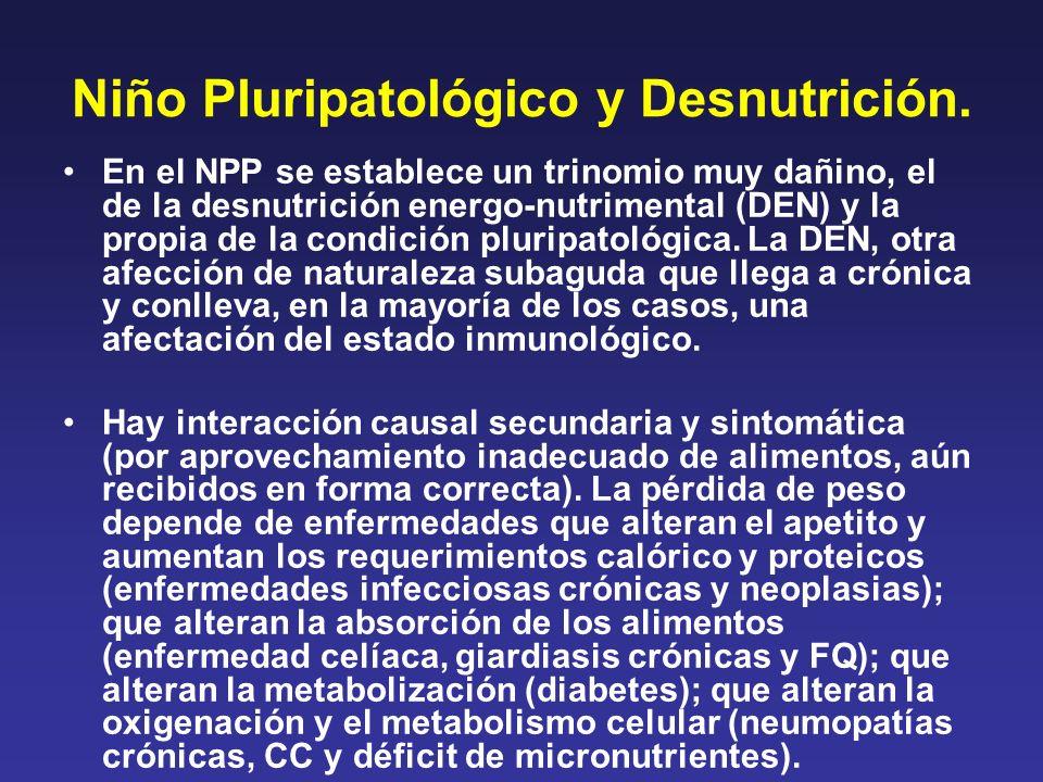 Niño Pluripatológico y Desnutrición. En el NPP se establece un trinomio muy dañino, el de la desnutrición energo-nutrimental (DEN) y la propia de la c