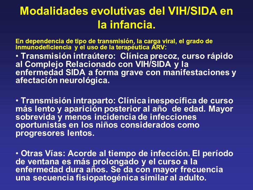 Modalidades evolutivas del VIH/SIDA en la infancia. En dependencia de tipo de transmisión, la carga viral, el grado de inmunodeficiencia y el uso de l