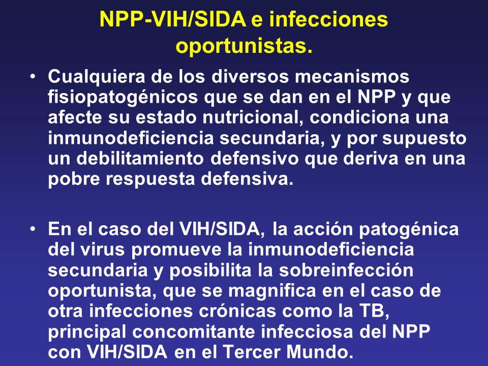 NPP-VIH/SIDA e infecciones oportunistas. Cualquiera de los diversos mecanismos fisiopatogénicos que se dan en el NPP y que afecte su estado nutriciona