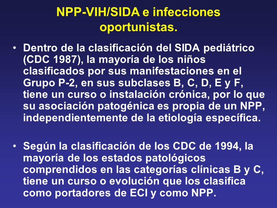 NPP-VIH/SIDA e infecciones oportunistas. Dentro de la clasificación del SIDA pediátrico (CDC 1987), la mayoría de los niños clasificados por sus manif