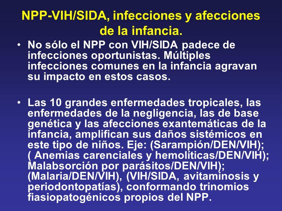 NPP-VIH/SIDA, infecciones y afecciones de la infancia. No sólo el NPP con VIH/SIDA padece de infecciones oportunistas. Múltiples infecciones comunes e