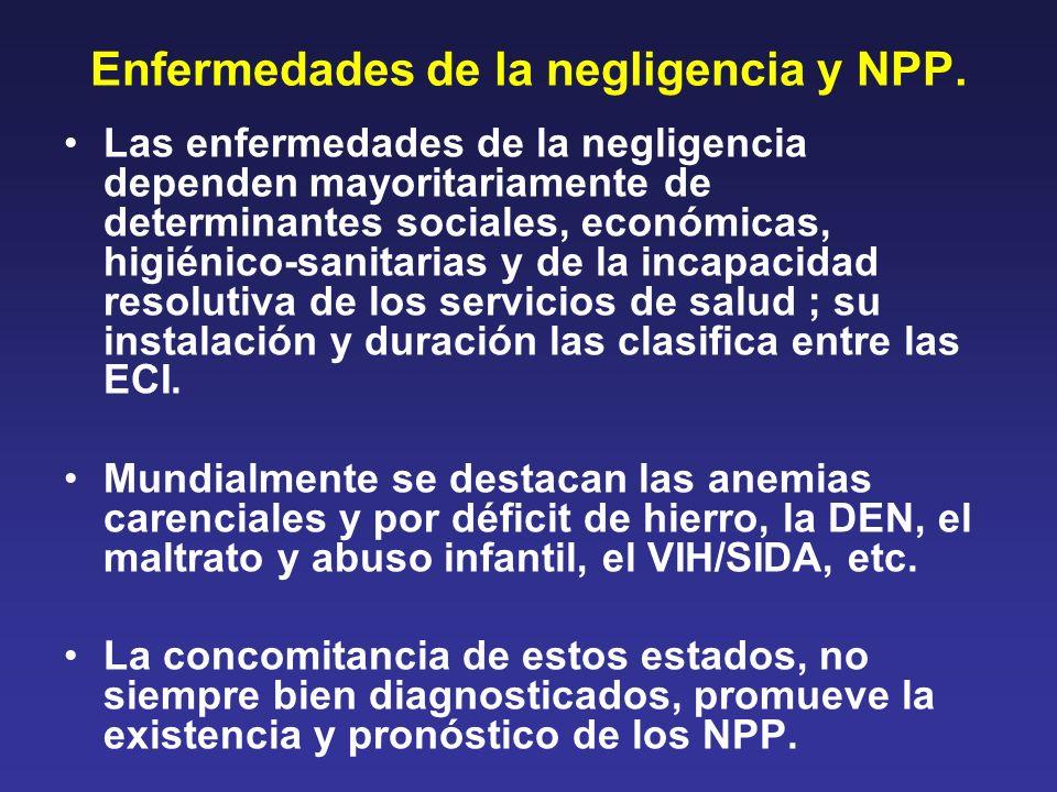 Enfermedades de la negligencia y NPP. Las enfermedades de la negligencia dependen mayoritariamente de determinantes sociales, económicas, higiénico-sa