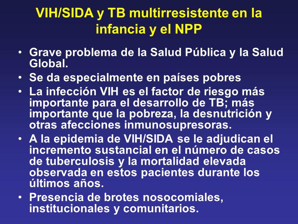 VIH/SIDA y TB multirresistente en la infancia y el NPP Grave problema de la Salud Pública y la Salud Global. Se da especialmente en países pobres La i