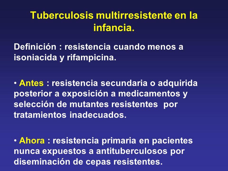 Tuberculosis multirresistente en la infancia. Definición : resistencia cuando menos a isoniacida y rifampicina. Antes : resistencia secundaria o adqui