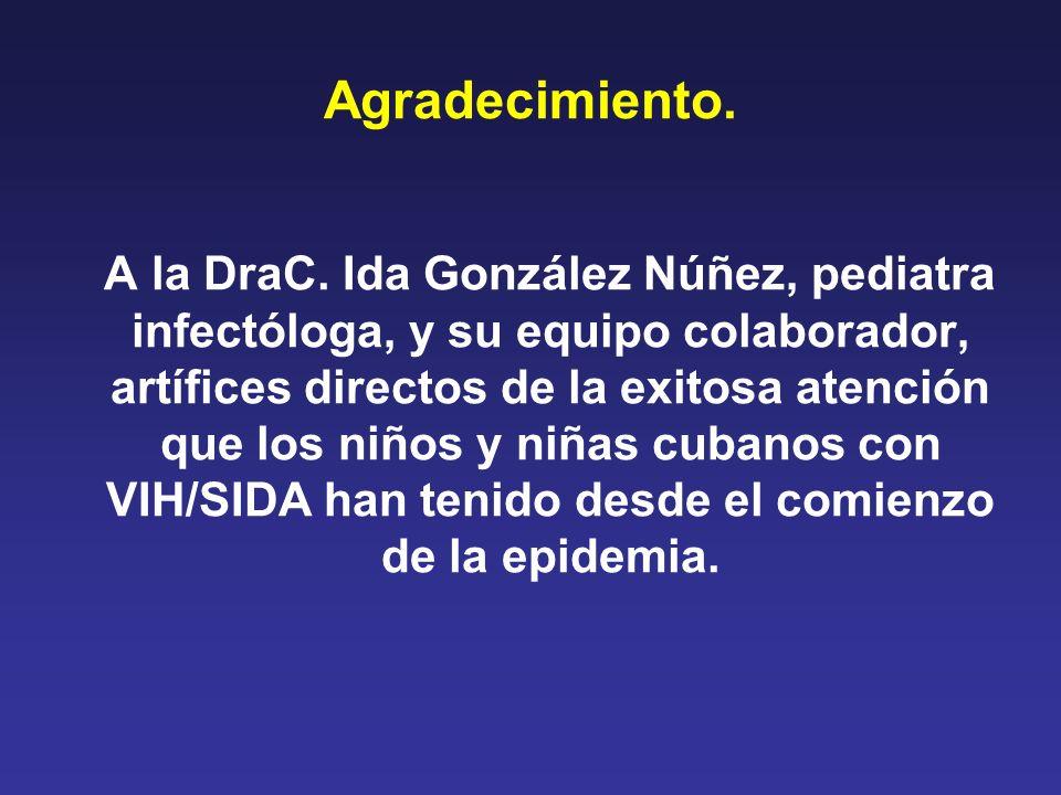 Agradecimiento. A la DraC. Ida González Núñez, pediatra infectóloga, y su equipo colaborador, artífices directos de la exitosa atención que los niños