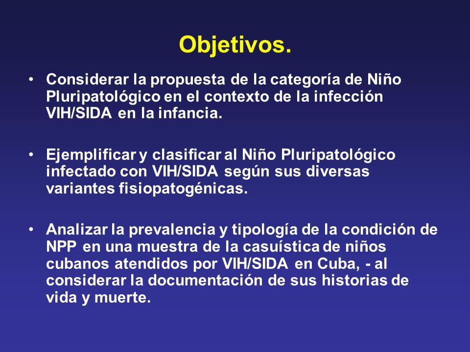 Objetivos. Considerar la propuesta de la categoría de Niño Pluripatológico en el contexto de la infección VIH/SIDA en la infancia. Ejemplificar y clas