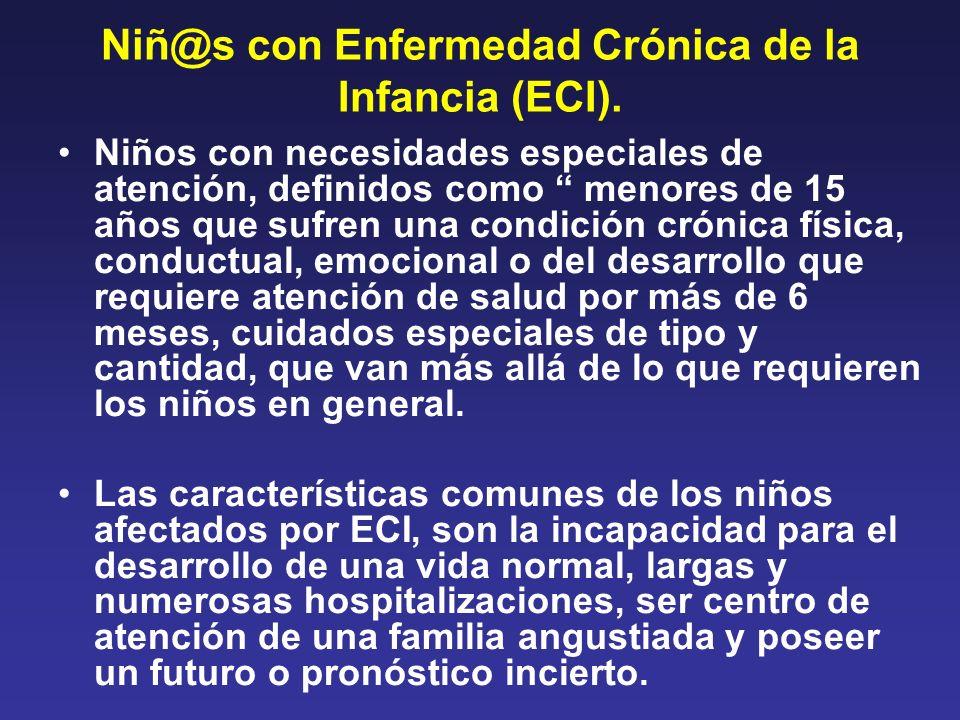 Niñ@s con Enfermedad Crónica de la Infancia (ECI). Niños con necesidades especiales de atención, definidos como menores de 15 años que sufren una cond