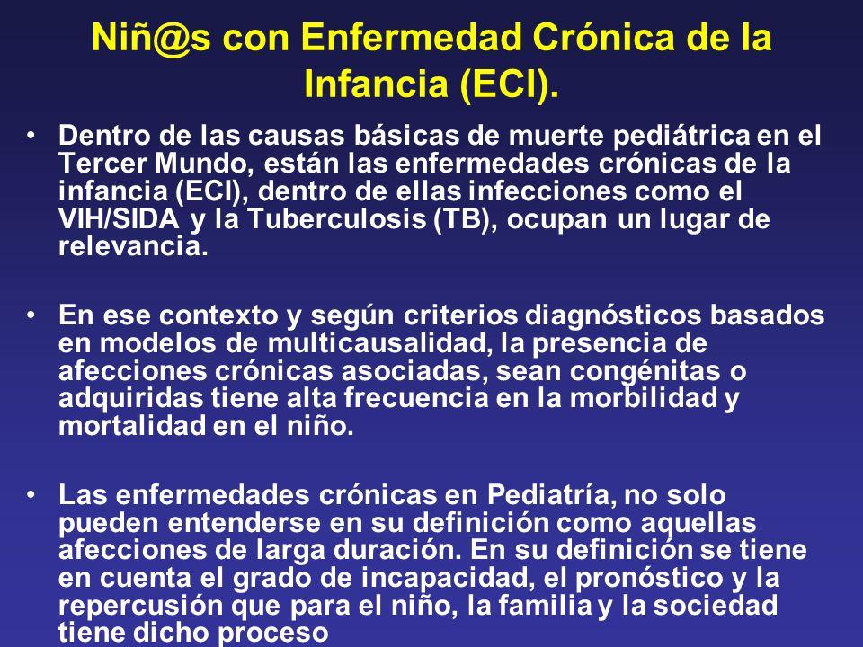 Niñ@s con Enfermedad Crónica de la Infancia (ECI). Dentro de las causas básicas de muerte pediátrica en el Tercer Mundo, están las enfermedades crónic