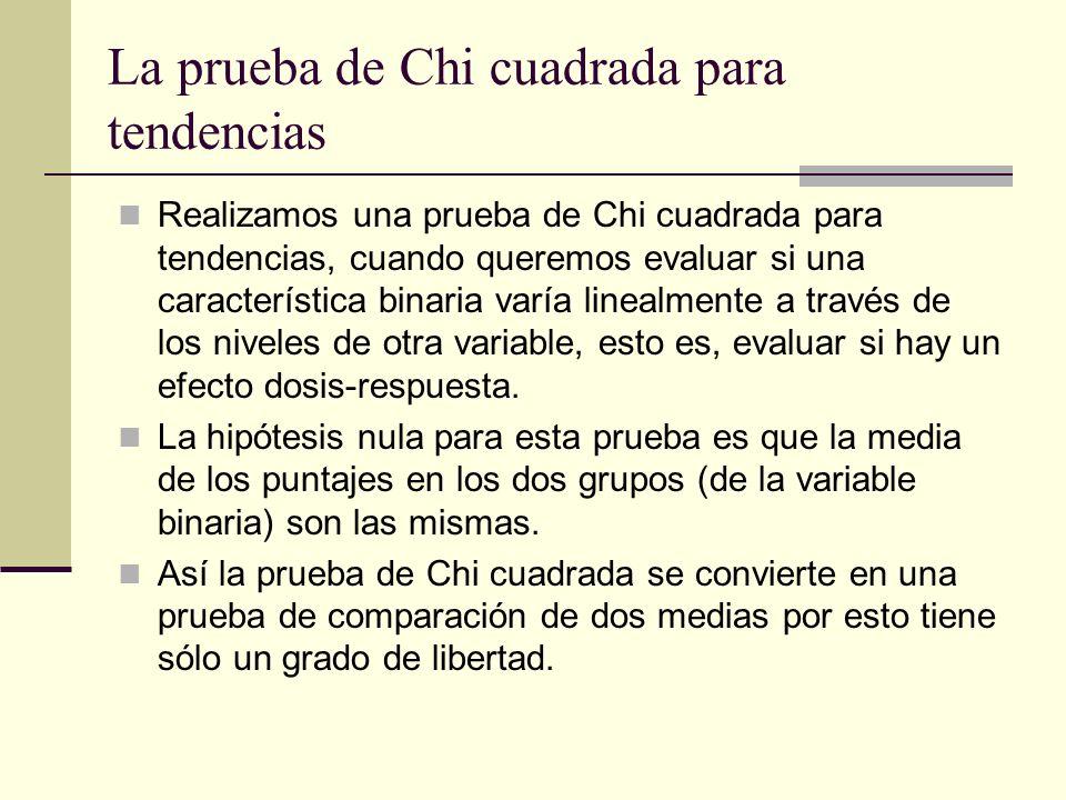 La prueba de Chi cuadrada para tendencias Realizamos una prueba de Chi cuadrada para tendencias, cuando queremos evaluar si una característica binaria