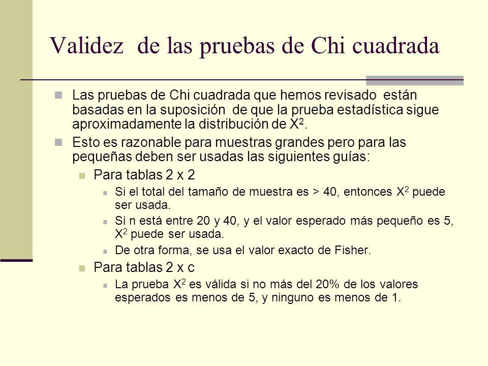 Validez de las pruebas de Chi cuadrada Las pruebas de Chi cuadrada que hemos revisado están basadas en la suposición de que la prueba estadística sigu