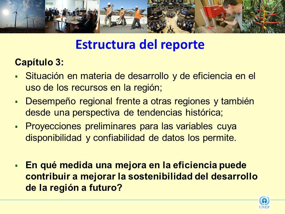 Estructura del reporte Capítulo 3: Situación en materia de desarrollo y de eficiencia en el uso de los recursos en la región; Desempeño regional frent