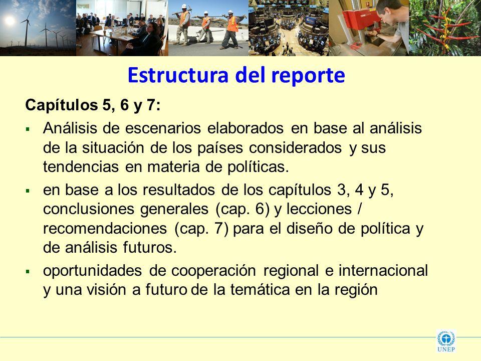 Estructura del reporte Capítulos 5, 6 y 7: Análisis de escenarios elaborados en base al análisis de la situación de los países considerados y sus tend