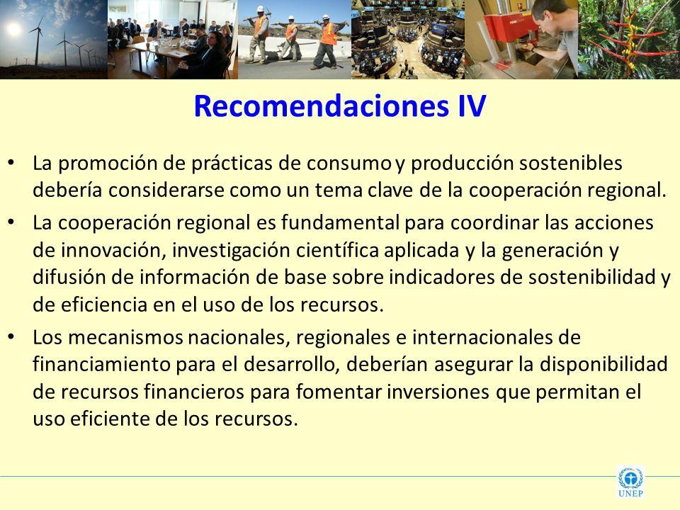 La promoción de prácticas de consumo y producción sostenibles debería considerarse como un tema clave de la cooperación regional. La cooperación regio
