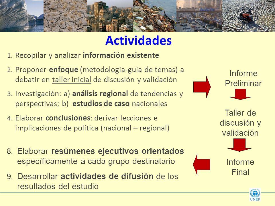 Actividades 1. Recopilar y analizar información existente 2. Proponer enfoque (metodología-guía de temas) a debatir en taller inicial de discusión y v