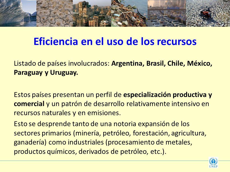 Eficiencia en el uso de los recursos Listado de países involucrados: Argentina, Brasil, Chile, México, Paraguay y Uruguay. Estos países presentan un p