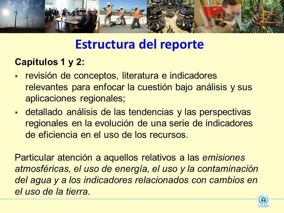Estructura del reporte Capítulos 1 y 2: revisión de conceptos, literatura e indicadores relevantes para enfocar la cuestión bajo análisis y sus aplica