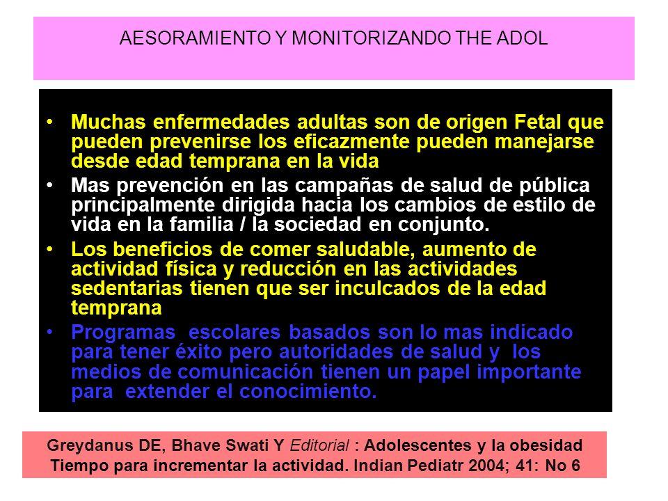 AESORAMIENTO Y MONITORIZANDO THE ADOL Muchas enfermedades adultas son de origen Fetal que pueden prevenirse los eficazmente pueden manejarse desde eda