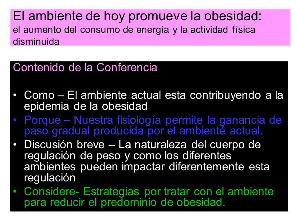 El ambiente de hoy promueve la obesidad: el aumento del consumo de energía y la actividad física disminuida Contenido de la Conferencia Como – El ambi
